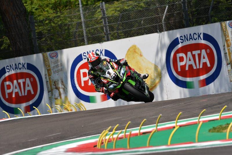 San Marino Italy - May 11, 2018: Jonathan Rea GBR Kawasaki ZX-10RR Kawasaki Racing Team, in action during the Superbike Qualifying. Session on May 11, 2018 in stock images
