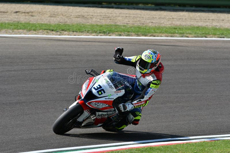 San Marino Italy - May 11, 2018: Leandro Mercado ARG Kawasaki ZX-10RR Orelac Racing VerdNatura Team, in action. During the Superbike Qualifying session on May stock image