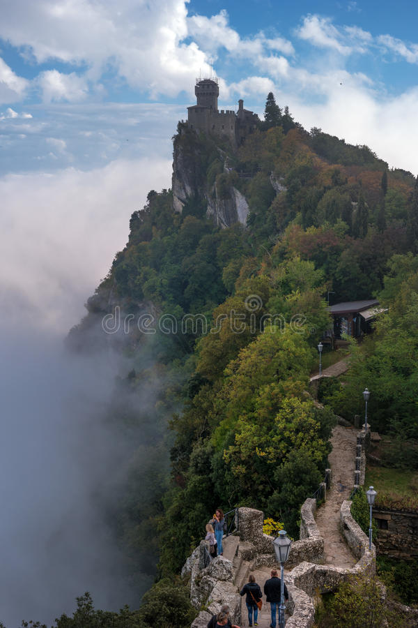 San Marino, Italy - October 15, 2016: Second tower: the Cesta or Fratta. stock photography