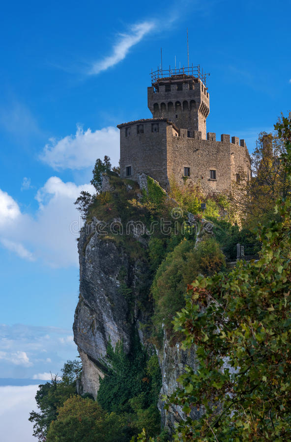 San Marino, Italy. Second tower: the Cesta or Fratta stock photography