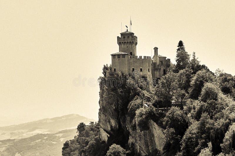 San marino, San Marino - July 10, 2017: tower of the fortress. San marino, San Marino - July 10, 2017: tower of the fortress royalty free stock images