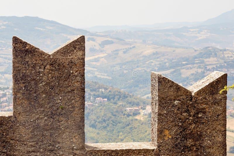 San marino, San Marino - July 10, 2017: tower of the fortress. San marino, San Marino - July 10, 2017: tower of the fortress stock photos