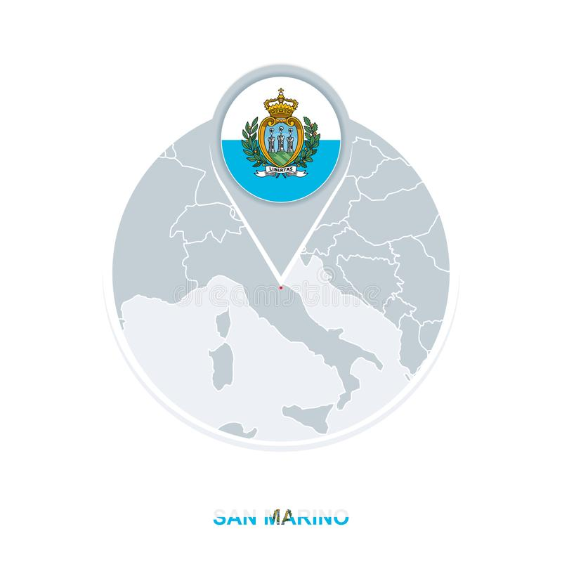 San Marino map and flag, vector map icon with highlighted San Marino vector illustration