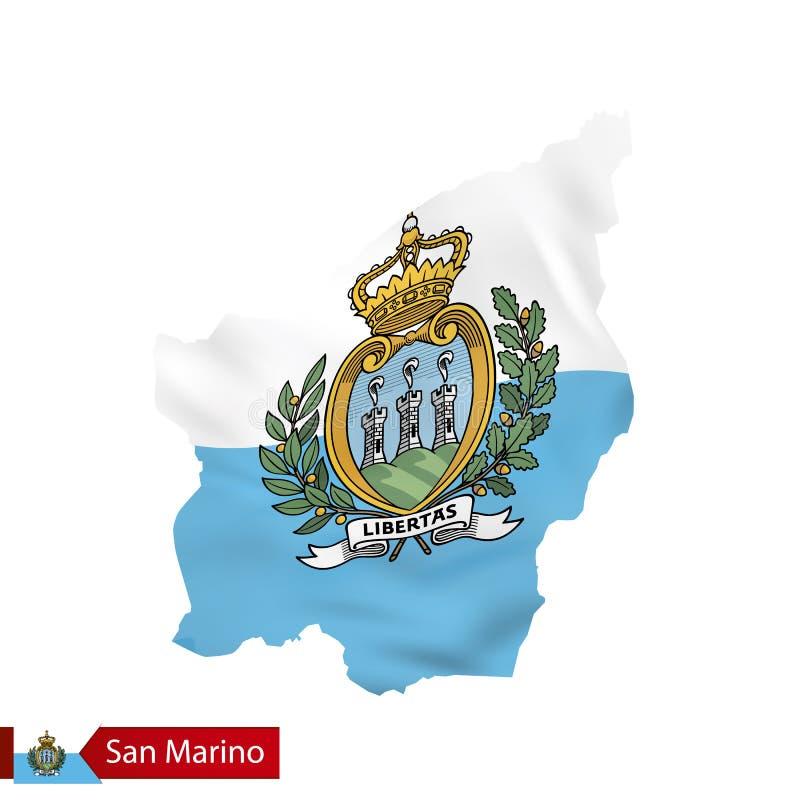 San Marino map with waving flag of San Marino. vector illustration