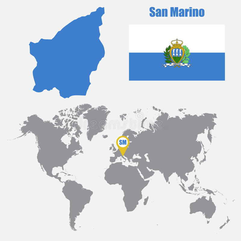 San Marino Map On A World Map With Flag And Map Pointer Vector - San marino map download