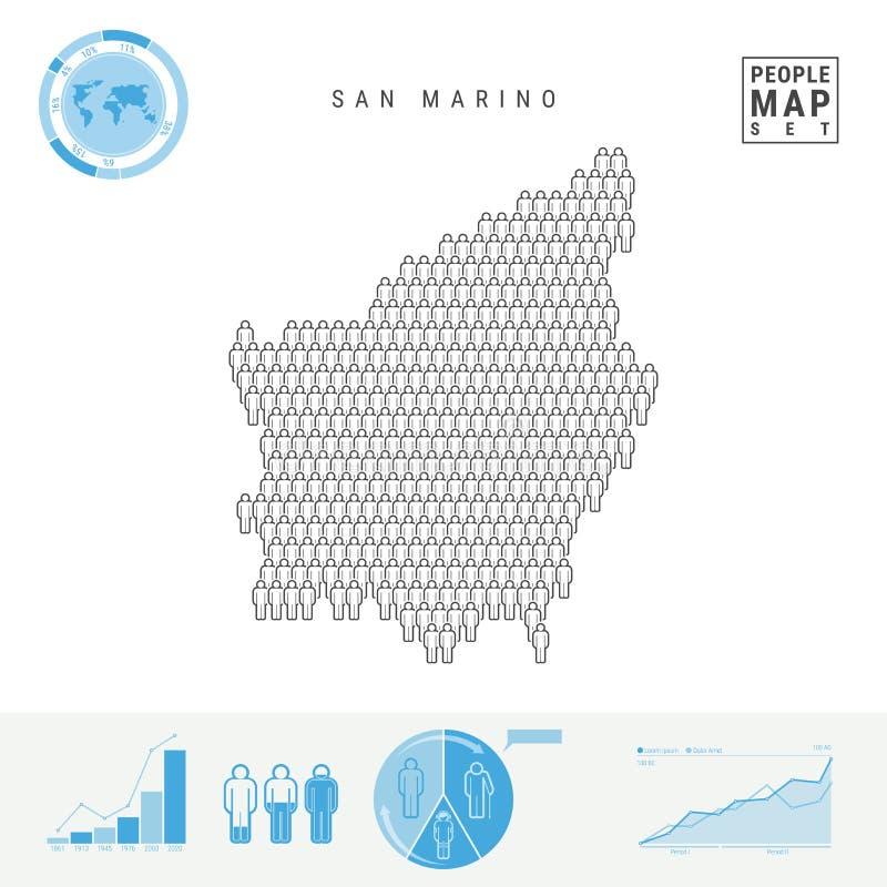 San Marino People Icon Map Silhueta estilizado do vetor de São Marino Crescimento demográfico e envelhecimento Infographics ilustração royalty free