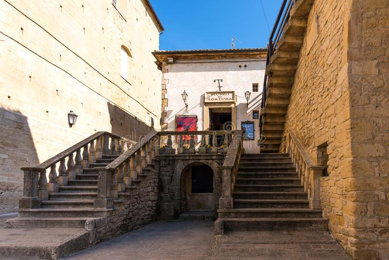 San Marino, Republik San Marino - 27. April 2018: Museum der Folterung in San Marino lizenzfreie stockfotografie