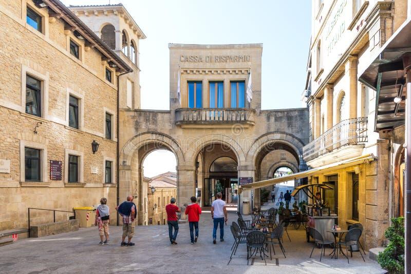 San Marino, republika San Marino, Kwiecień 27 -, 2018: Widok dziejowy centrum San Marino zdjęcie stock
