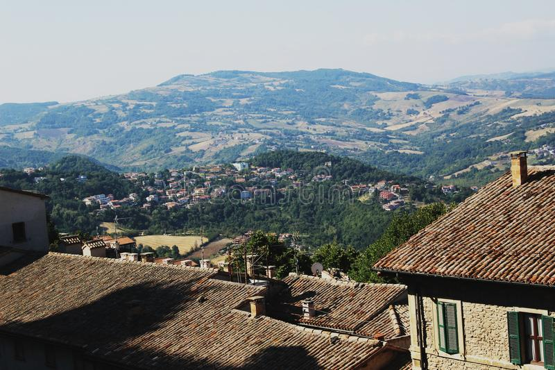 San Marino. Is said to be the world`s oldest surviving republic.A place that looks like an illustration to a fairy tale about a beautiful princess royalty free stock image