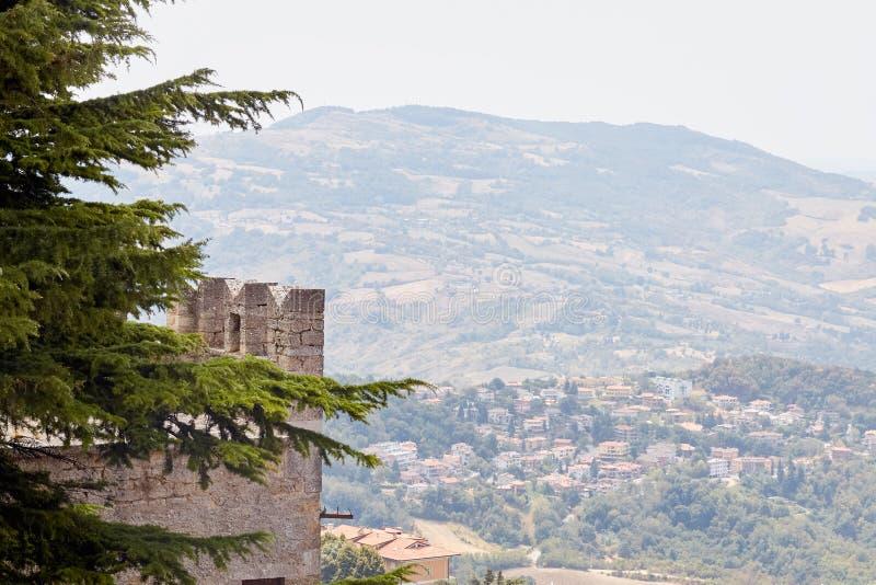 San marino, San Marino - July 10, 2017: tower of the fortress. San marino, San Marino - July 10, 2017: tower of the fortress royalty free stock photo