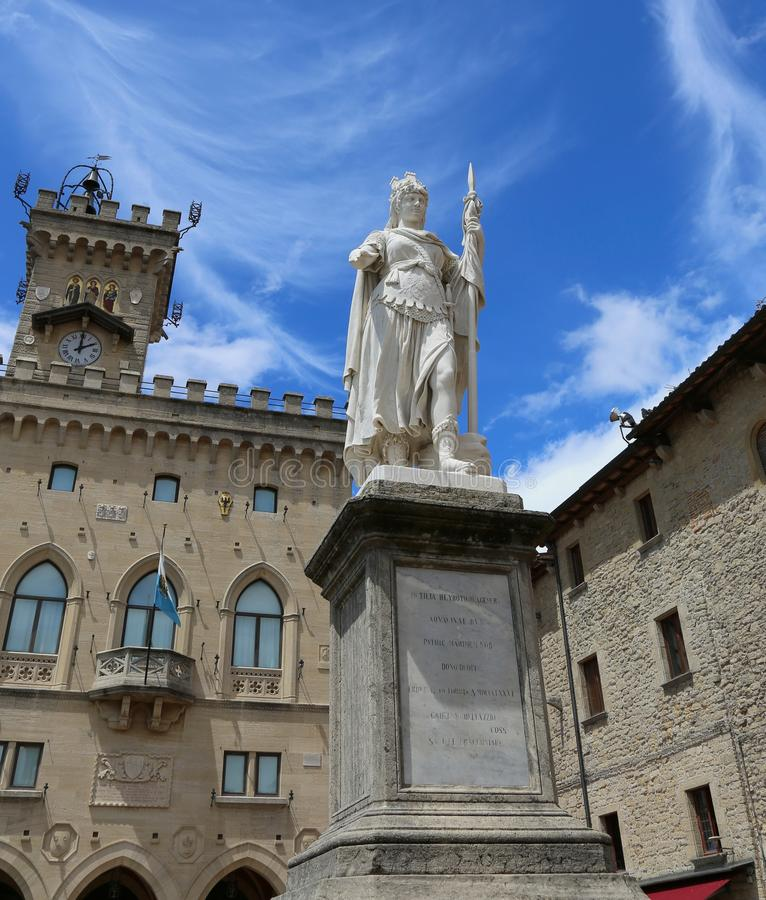 San Marino, SM, san Marino Republic - June 6, 2017: Statue of Li. San Marino, SM, san Marino Republic - June 6, 2017:  Statue of Liberty in the main square of royalty free stock photo
