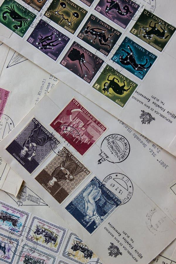 San Marino Stamps royaltyfria bilder
