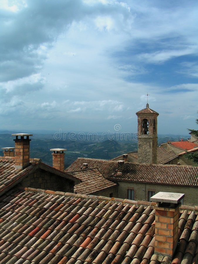 San Marino - telhados fotografia de stock
