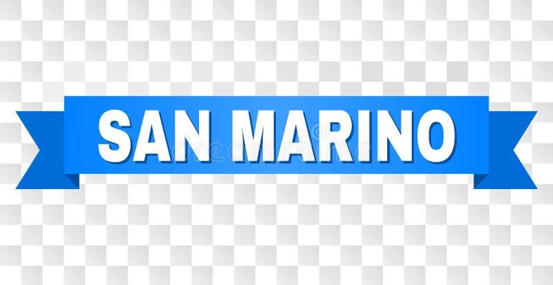Blue Stripe with SAN MARINO Caption. SAN MARINO text on a ribbon. Designed with white caption and blue stripe. Vector banner with SAN MARINO tag on a transparent stock illustration