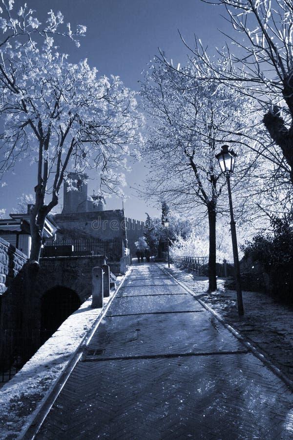 San marino ulicy zima zdjęcie stock