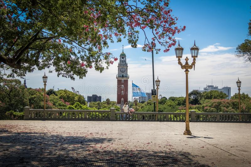San Martin Square and Monumental Tower at Retiro region - Buenos Aires, Argentina royalty free stock image