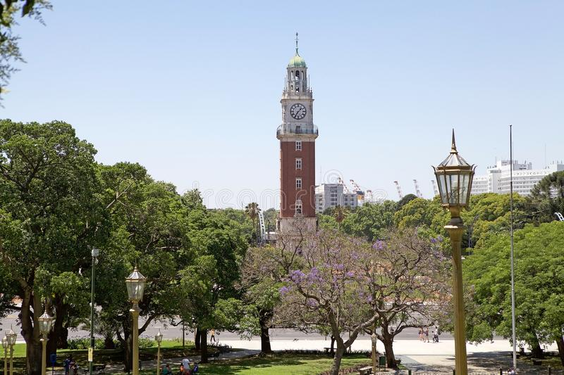 San Martin square with Torre Monumental, Buenos Aires, Argentina stock image