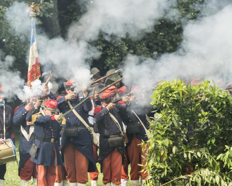 San Martino Della Battaglia BS, Italien am 24. Juni 2018 Gedenken des Kampfes von Solferino und von San Martino 1859 lizenzfreie stockfotografie
