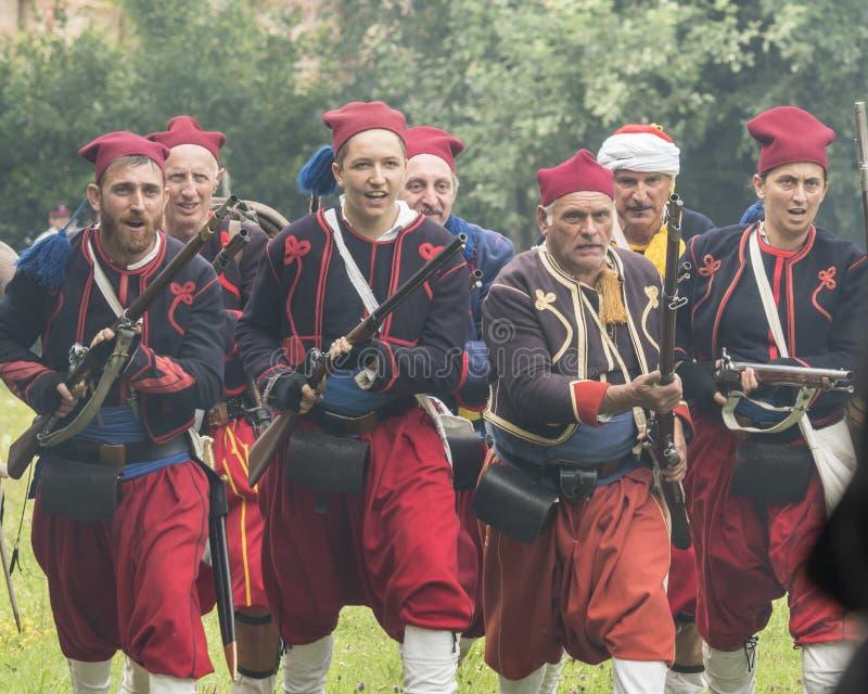 San Martino Della Battaglia BS, Italien am 24. Juni 2018 Gedenken des Kampfes von Solferino und von San Martino 1859 lizenzfreie stockbilder