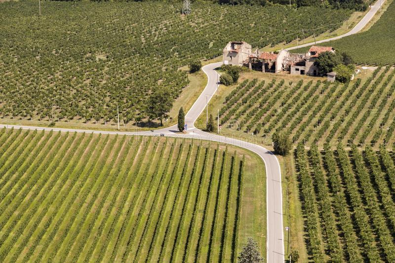 San Martino della Battaglia, Italy. Aerial views of the Italian landscape and traditional houses from the monumental tower of the Battle of Solferino royalty free stock photo