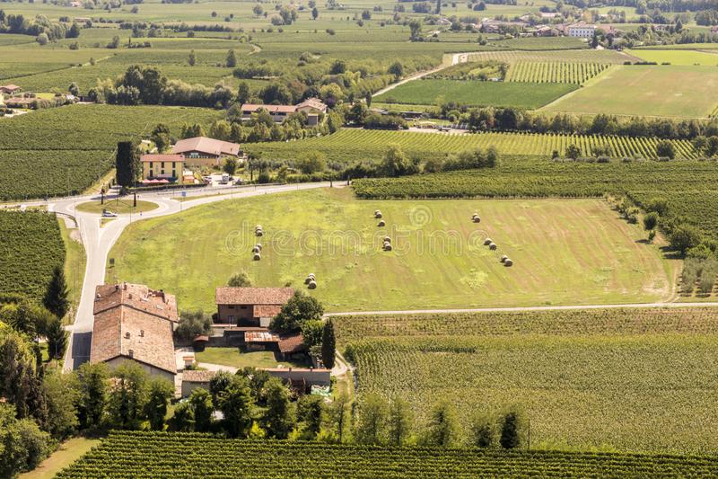 San Martino della Battaglia, Italy. Aerial views of the Italian landscape and traditional houses from the monumental tower of the Battle of Solferino royalty free stock photography