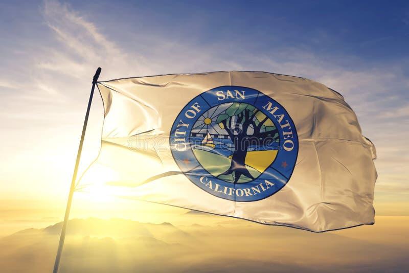 San Mateo of California of United States flag waving on the top. San Mateo of California of United States flag waving royalty free stock photo