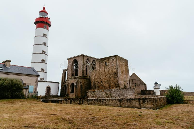 San Mathieu Lighthouse di Pointe in Bretagna, Francia immagini stock
