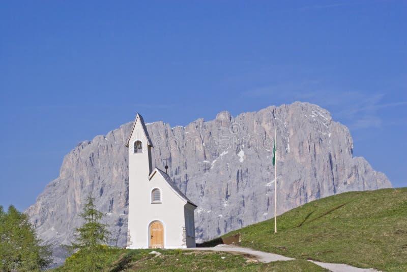 San Maurizio chapel on the Gardena Pass royalty free stock photos