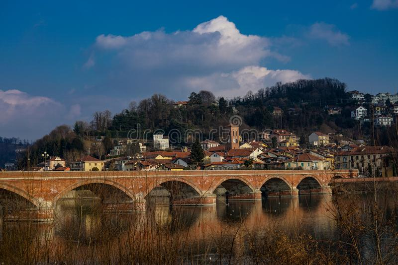 San Mauro torinese the bridge on the river po. San Mauro torinese,Piedmont,Italy San Mauro Torinese San Mò in Piedmont is an Italian town of 18.922 royalty free stock photo