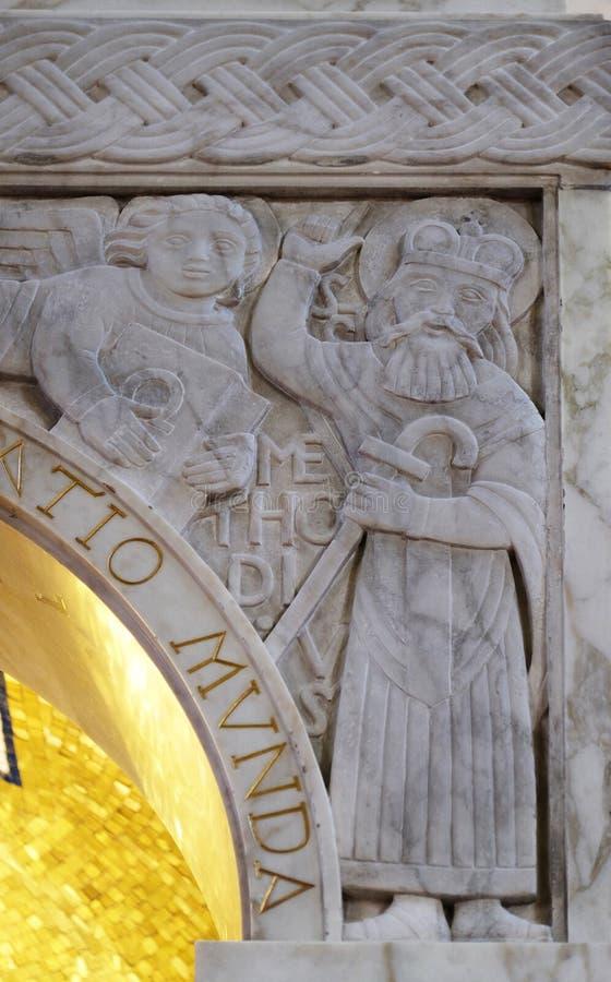 San Methodius Dettaglio del ciborio nella chiesa di San Biagio a Zagabria immagine stock