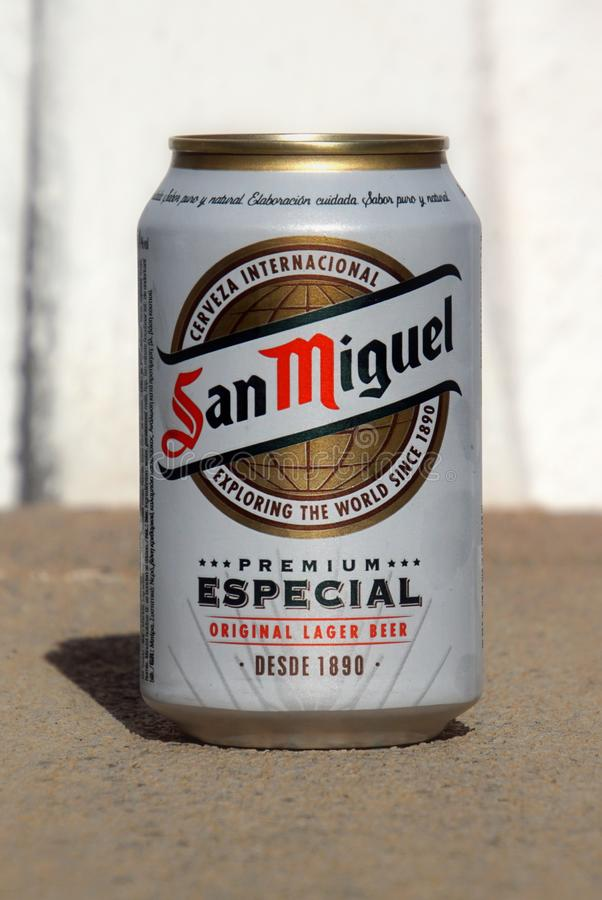 San Miguel beer can. royalty free stock images
