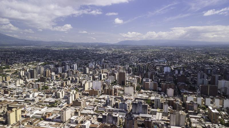 San Miguel de Tucumán/Tucumán/Argentina - 01.01.19: Aerial view of the city of San Miguel de Tucumán, Argentina.  royalty free stock image