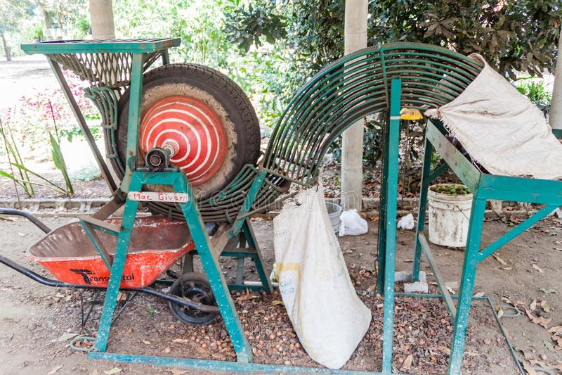SAN MIGUEL DUENAS, GUATEMALA - MARCH 28, 2016: Macadamia shelling machine located at the Valhalla Experimental Station stock image