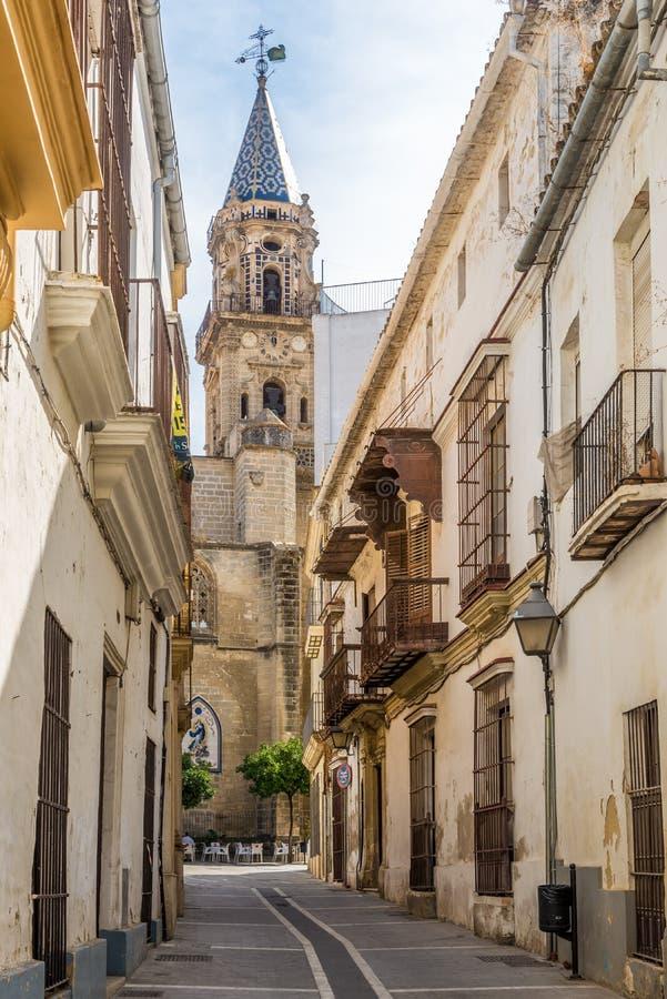 San Miguel kościół w ulicach Jerez De La Frontera w Hiszpania obraz stock
