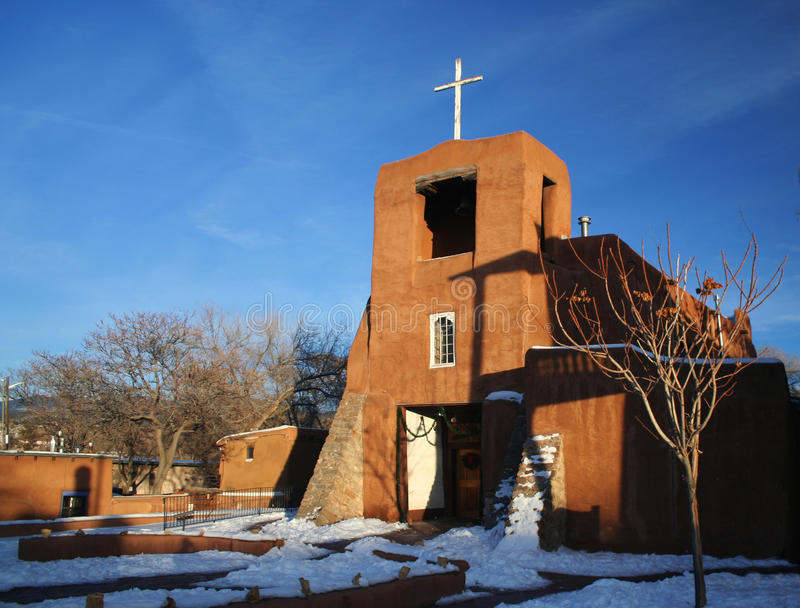 San Miguel Mission in Santa Fe, New Mexico royalty free stock image
