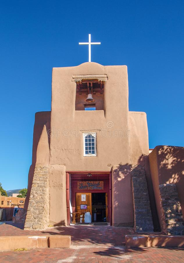 San Miguel Mission in Santa Fe, New Mexico stock photos