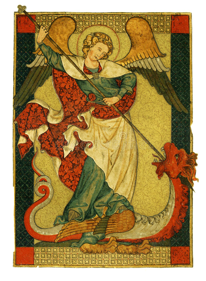 San Miguel triunfante sobre la pintura del diablo ilustración del vector