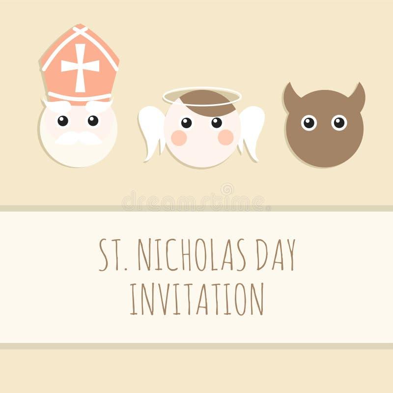 San Nicolás lindo con el diablo y el ángel, tarjeta de Navidad ilustración del vector