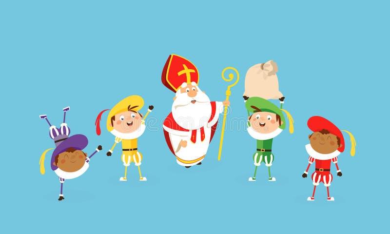 San Nicola e gli assistenti celebrano e divertendosi - stile del fumetto dell'illustrazione di vettore illustrazione vettoriale