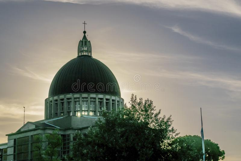 San Nicolas City Main Church. Exterior view of church dome at San Nicolas city, Argentina royalty free stock photo
