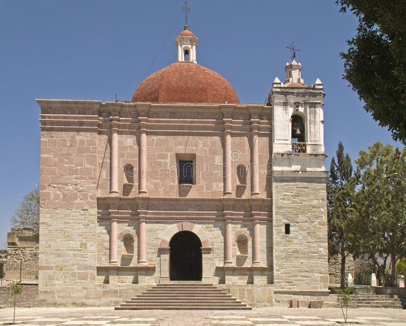 San Pablo church in Mitla, Oaxaca, Mexico. The seventeenth century San Pablo church was built upon the foundation of pre-columbian Zapotec and Mixtec ceremonial royalty free stock photos