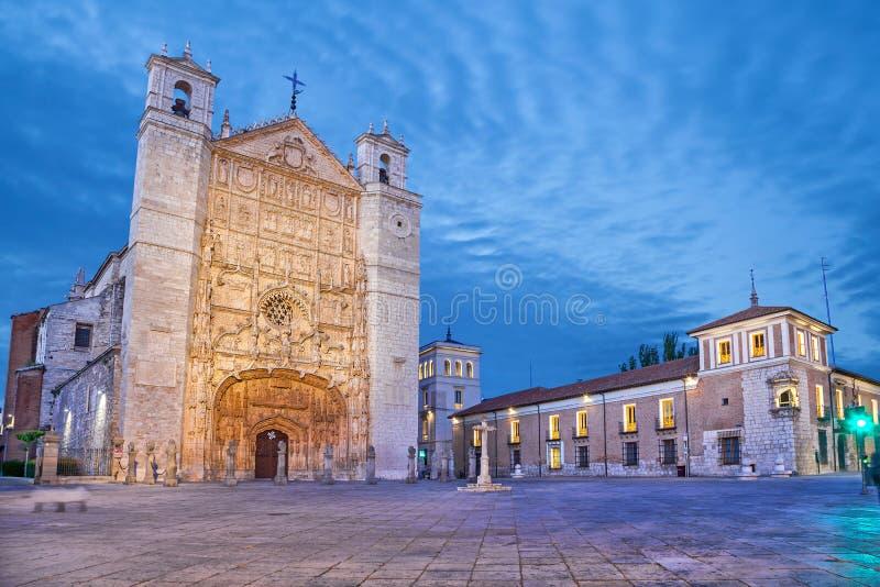 San Pablo Church nella sera, Valladolid fotografia stock