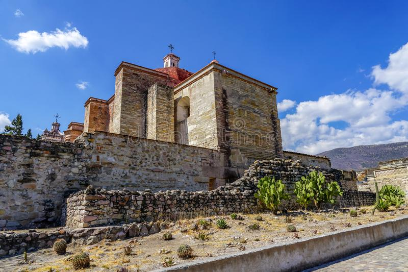 San Pablo church and ruins at Mitla. San Pablo church was built in 1590 on site of old Aztecs ruins at Mitla, Mexico stock image