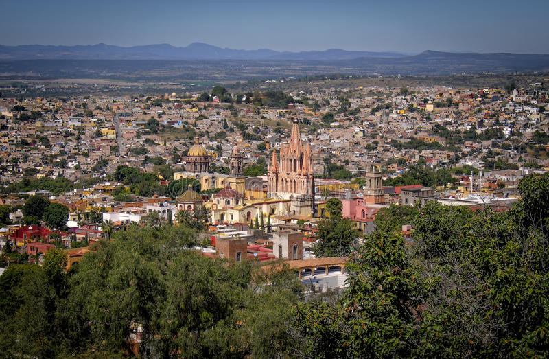 San panoramique Miguel de Allende, Mexique image libre de droits