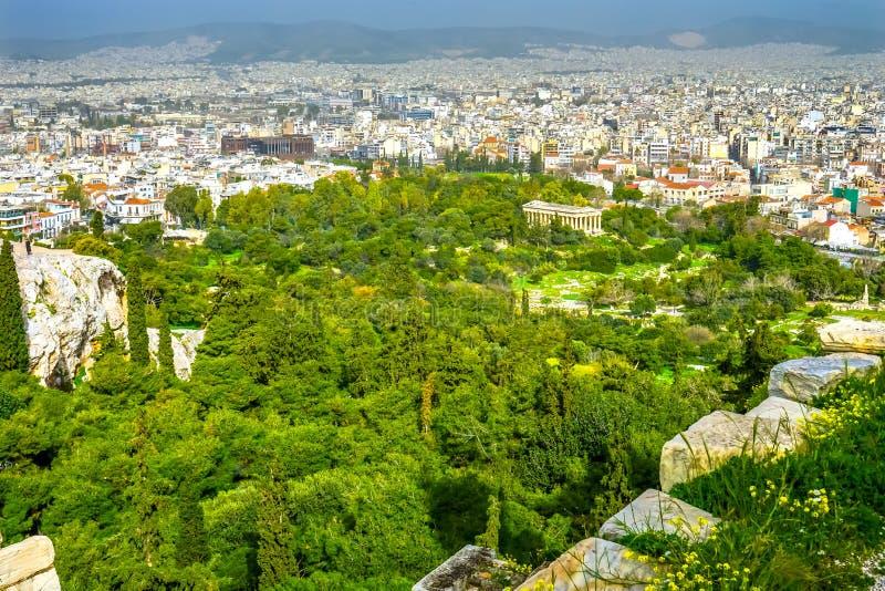 San Paul Rock Agora Acropolis Athens Grecia di Areopagus fotografie stock libere da diritti
