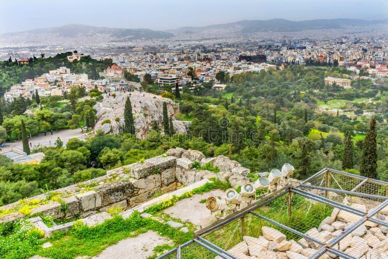 San Paul Rock Agora Acropolis Athens Grecia di Areopagus fotografia stock