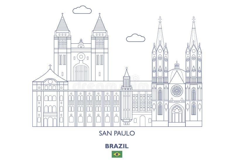 San Paulo City Skyline, Brasil ilustração stock