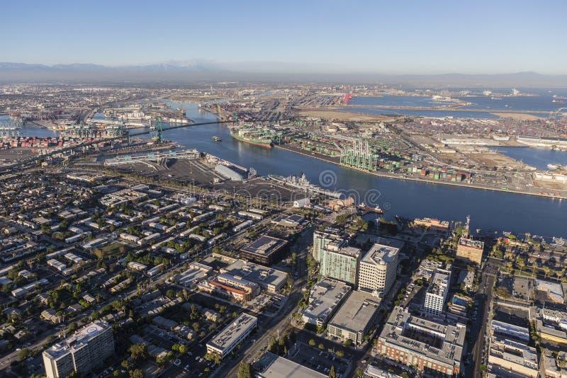 San Pedro California und Los Angeles-Hafen-Vogelperspektive stockfoto