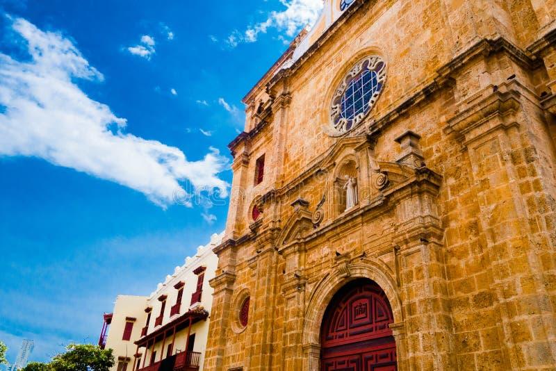 San Pedro Claver katedra przy Cartagena De Indias, Kolumbia fotografia stock