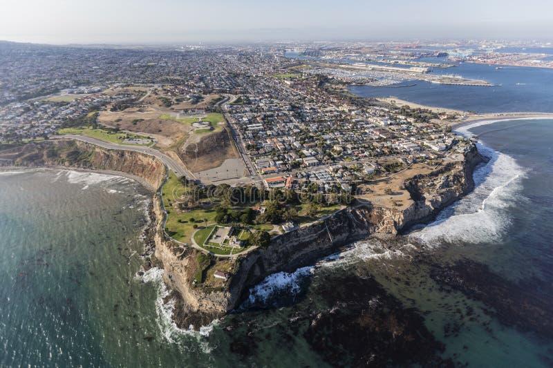San Pedro Coastline Aerial a Los Angeles California fotografie stock libere da diritti